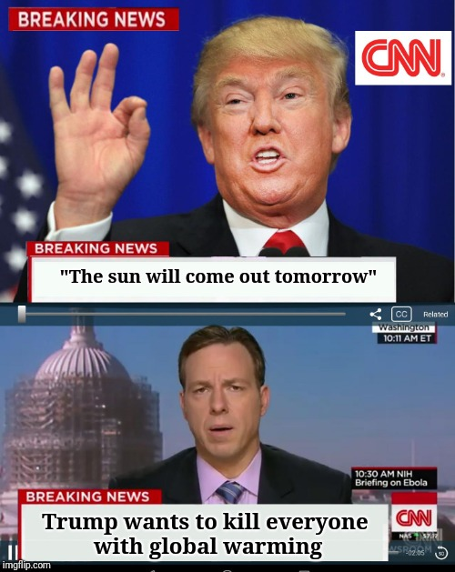 "CNN Spins Trump News  | ""The sun will come out tomorrow"" Trump wants to kill everyone with global warming 