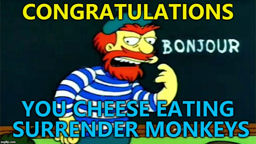 France have won the World Cup... :) | CONGRATULATIONS YOU CHEESE EATING SURRENDER MONKEYS | image tagged in memes,world cup,france | made w/ Imgflip meme maker