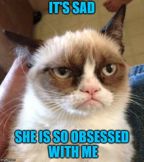 Grumpy Cat Reverse Meme | IT'S SAD SHE IS SO OBSESSED WITH ME | image tagged in memes,grumpy cat reverse,grumpy cat | made w/ Imgflip meme maker