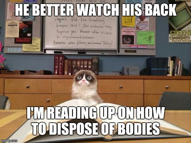 Grumpy cat studying | HE BETTER WATCH HIS BACK I'M READING UP ON HOW TO DISPOSE OF BODIES | image tagged in grumpy cat studying | made w/ Imgflip meme maker