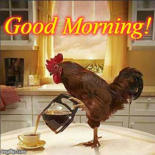 Country Kitchen Coffee | Good Morning! | image tagged in coffee,rooster,wake up,good morning | made w/ Imgflip meme maker