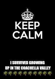 Keep calm keep it inside  | I SURVIVED GROWING UP IN THE COACHELLA VALLEY  | image tagged in keep calm keep it inside | made w/ Imgflip meme maker