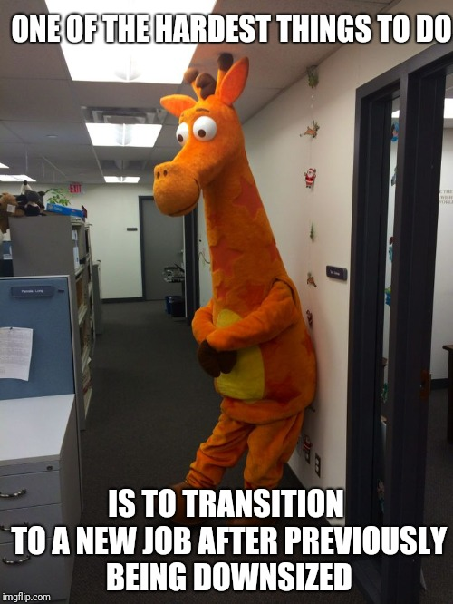 I have faith that Geoffrey will land on his feet! | ONE OF THE HARDEST THINGS TO DO IS TO TRANSITION TO A NEW JOB AFTER PREVIOUSLY BEING DOWNSIZED | image tagged in funny memes,unemployment,toys r us,geoffrey | made w/ Imgflip meme maker