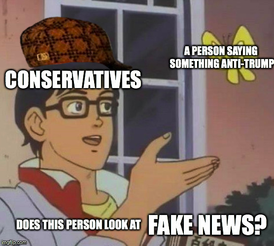 Ah, conservatives. Constantly spewing out bullshit as usual. Haha. | CONSERVATIVES A PERSON SAYING SOMETHING ANTI-TRUMP DOES THIS PERSON LOOK AT FAKE NEWS? | image tagged in memes,is this a pigeon,scumbag,stupid conservatives,fake news,anti trump | made w/ Imgflip meme maker