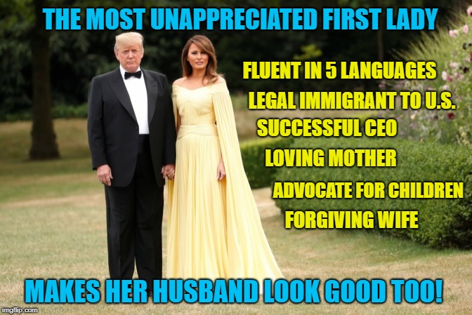 Hollywood would be in love with Melania, if she wasn't a Republican |  THE MOST UNAPPRECIATED FIRST LADY; FLUENT IN 5 LANGUAGES; LEGAL IMMIGRANT TO U.S. SUCCESSFUL CEO; LOVING MOTHER; ADVOCATE FOR CHILDREN; FORGIVING WIFE; MAKES HER HUSBAND LOOK GOOD TOO! | image tagged in first lady,trump,feminism,maga,boycott hollywood | made w/ Imgflip meme maker