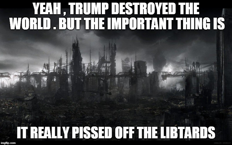 YEAH , TRUMP DESTROYED THE WORLD . BUT THE IMPORTANT THING IS IT REALLY PISSED OFF THE LIBTARDS | image tagged in trump | made w/ Imgflip meme maker