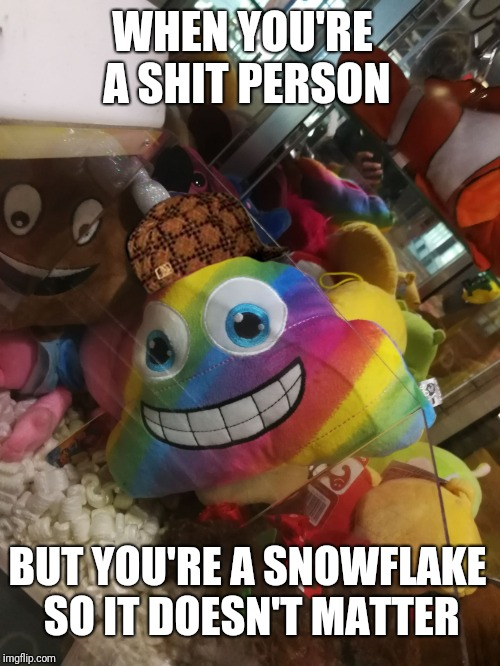WHEN YOU'RE A SHIT PERSON BUT YOU'RE A SNOWFLAKE SO IT DOESN'T MATTER | image tagged in scumbag | made w/ Imgflip meme maker