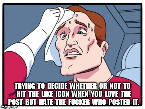 post | TRYING  TO  DECIDE  WHETHER  OR  NOT  TO  HIT  THE  LIKE  ICON  WHEN  YOU  LOVE  THE  POST  BUT  HATE  THE  F**KER  WHO  POSTED  IT. | image tagged in post,facebook | made w/ Imgflip meme maker