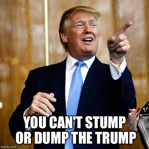 Donal Trump Birthday | YOU CAN'T STUMP OR DUMP THE TRUMP | image tagged in donal trump birthday | made w/ Imgflip meme maker