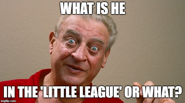 WHAT IS HE IN THE 'LITTLE LEAGUE' OR WHAT? | made w/ Imgflip meme maker