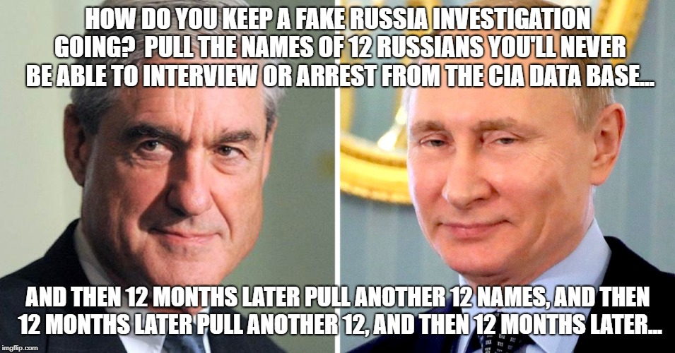 Fake Russian Investigation | HOW DO YOU KEEP A FAKE RUSSIA INVESTIGATION GOING?  PULL THE NAMES OF 12 RUSSIANS YOU'LL NEVER BE ABLE TO INTERVIEW OR ARREST FROM THE CIA D | image tagged in memes,robert mueller,deep state,cnn fake news,russia,msnbc | made w/ Imgflip meme maker