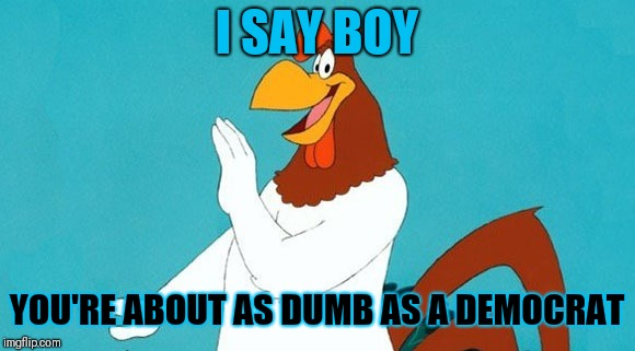 Rooster | I SAY BOY YOU'RE ABOUT AS DUMB AS A DEMOCRAT | image tagged in rooster | made w/ Imgflip meme maker