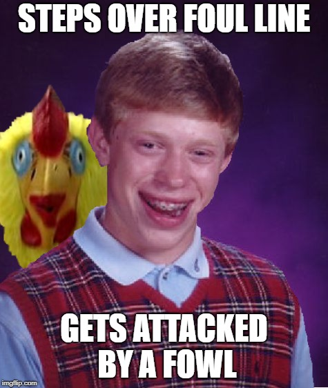 STEPS OVER FOUL LINE GETS ATTACKED BY A FOWL | made w/ Imgflip meme maker