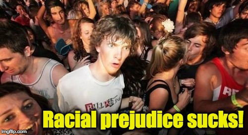 Sudden Clarity Clarence Meme | Racial prejudice sucks! | image tagged in memes,sudden clarity clarence,racism,black lives matter,racists | made w/ Imgflip meme maker