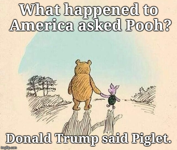 Pooh and Piglet | What happened to America asked Pooh? Donald Trump said Piglet. | image tagged in pooh and piglet | made w/ Imgflip meme maker