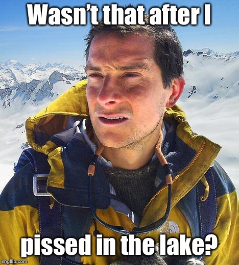Bear Grylls Meme | Wasn't that after I pissed in the lake? | image tagged in memes,bear grylls | made w/ Imgflip meme maker