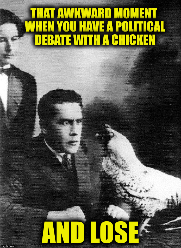 You know you've seen this here | THAT AWKWARD MOMENT WHEN YOU HAVE A POLITICAL DEBATE WITH A CHICKEN AND LOSE | image tagged in politics,debate,chicken | made w/ Imgflip meme maker