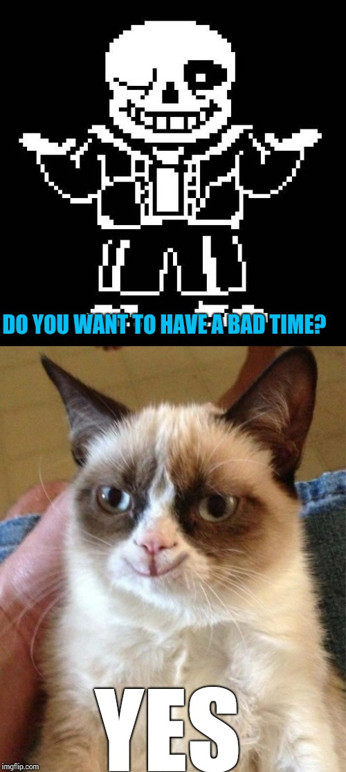 DO YOU WANT TO HAVE A BAD TIME? YES | image tagged in memes,sans,bad time,grumpy cat | made w/ Imgflip meme maker