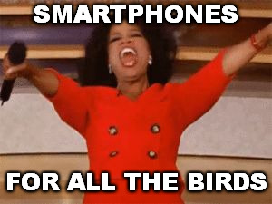 Ophrah | SMARTPHONES FOR ALL THE BIRDS | image tagged in ophrah | made w/ Imgflip meme maker