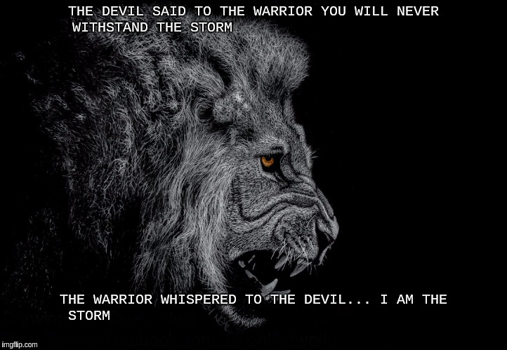 THE DEVIL SAID TO THE WARRIOR  | THE DEVIL SAID TO THE WARRIOR YOU WILL NEVER WITHSTAND THE STORM THE WARRIOR WHISPERED TO THE DEVIL... I AM THE STORM | image tagged in vatican,jesus christ | made w/ Imgflip meme maker