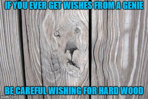 Always be careful what you wish for!!! | IF YOU EVER GET WISHES FROM A GENIE BE CAREFUL WISHING FOR HARD WOOD | image tagged in face in wood grain,memes,wood,funny,genies,careful what you wish for | made w/ Imgflip meme maker