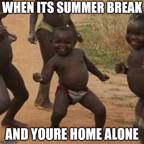 Third World Success Kid Meme | WHEN ITS SUMMER BREAK AND YOURE HOME ALONE | image tagged in memes,third world success kid | made w/ Imgflip meme maker