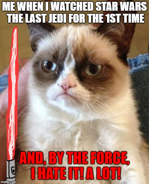 Grumpy Cat Meme | ME WHEN I WATCHED STAR WARS THE LAST JEDI FOR THE 1ST TIME AND, BY THE FORCE, I HATE IT! A LOT! | image tagged in memes,grumpy cat,scumbag | made w/ Imgflip meme maker