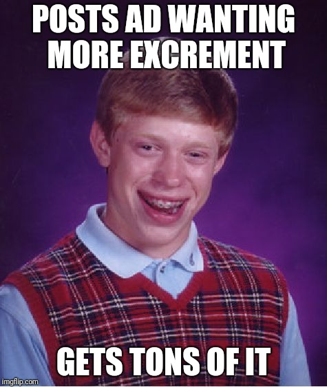 Bad Luck Brian Meme | POSTS AD WANTING MORE EXCREMENT GETS TONS OF IT | image tagged in memes,bad luck brian | made w/ Imgflip meme maker