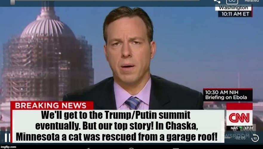 CNN Biased, err, BREAKING News! | We'll get to the Trump/Putin summit eventually. But our top story! In Chaska, Minnesota a cat was rescued from a garage roof! | image tagged in cnn breaking news template | made w/ Imgflip meme maker