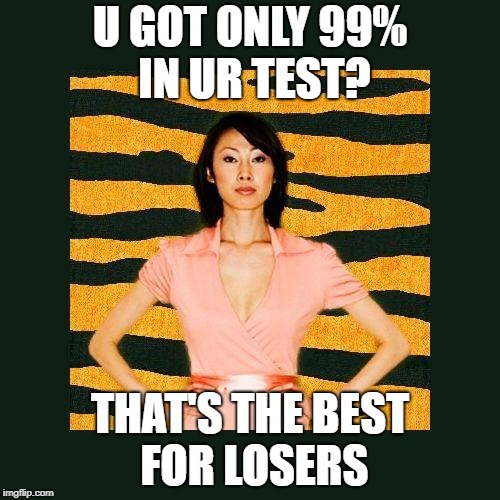Tiger Mom |  U GOT ONLY 99% IN UR TEST? THAT'S THE BEST FOR LOSERS | image tagged in tiger mom | made w/ Imgflip meme maker