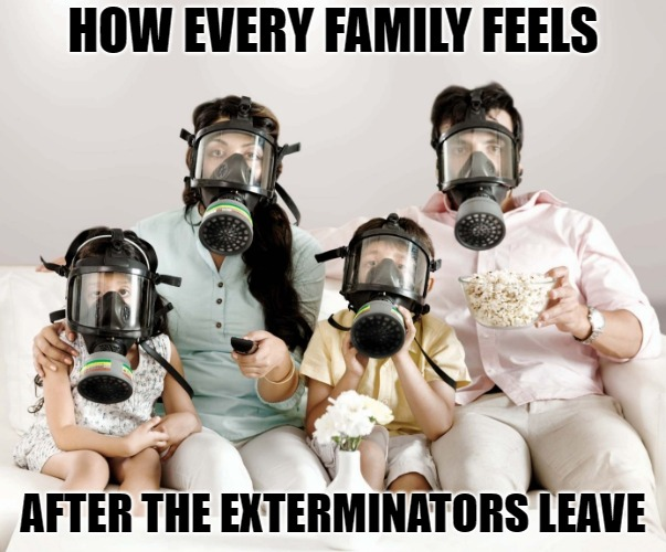 Gas Mask Family Movie | HOW EVERY FAMILY FEELS AFTER THE EXTERMINATORS LEAVE | image tagged in gas mask family movie | made w/ Imgflip meme maker