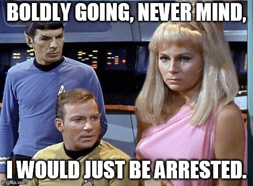 star trek | BOLDLY GOING, NEVER MIND, I WOULD JUST BE ARRESTED. | image tagged in distracted boyfriend | made w/ Imgflip meme maker