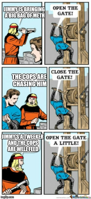 Open the gate a little | JIMMY IS BRINGING A BIG BAG OF METH THE COPS ARE CHASING HIM JIMMY'S A TWEEKER AND THE COPS ARE WELL FEED | image tagged in open the gate a little | made w/ Imgflip meme maker