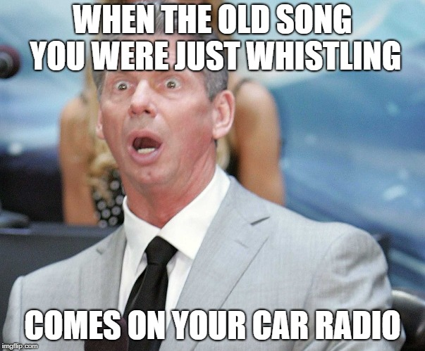 WHEN THE OLD SONG YOU WERE JUST WHISTLING COMES ON YOUR CAR RADIO | image tagged in stunned | made w/ Imgflip meme maker