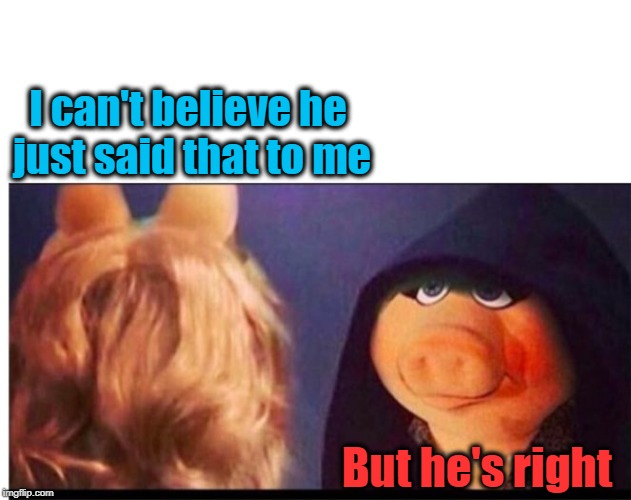 Dark Miss Piggy | I can't believe he just said that to me But he's right | image tagged in dark miss piggy | made w/ Imgflip meme maker