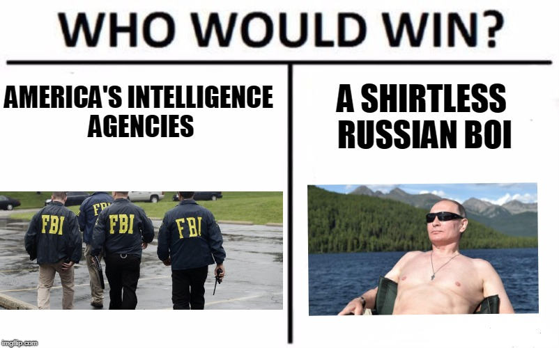 Trump version of Who Would WIn | AMERICA'S INTELLIGENCE AGENCIES A SHIRTLESS RUSSIAN BOI | image tagged in memes,who would win | made w/ Imgflip meme maker