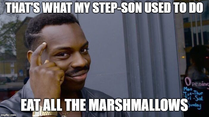 Roll Safe Think About It Meme | THAT'S WHAT MY STEP-SON USED TO DO EAT ALL THE MARSHMALLOWS | image tagged in memes,roll safe think about it | made w/ Imgflip meme maker