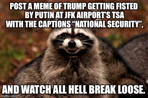 "TSA should screen the White House |  POST A MEME OF TRUMP GETTING FISTED BY PUTIN AT JFK AIRPORT'S TSA WITH THE CAPTIONS ""NATIONAL SECURITY"", AND WATCH ALL HELL BREAK LOOSE. 