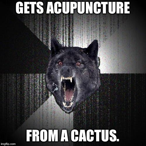 Do not use those needles | GETS ACUPUNCTURE FROM A CACTUS. | image tagged in memes,insanity wolf,cactus,medicine,health care,east | made w/ Imgflip meme maker