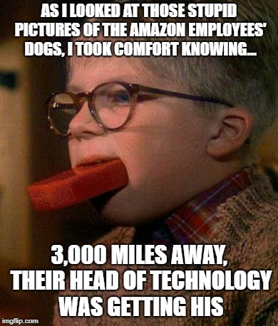 #PrimeDayFail | AS I LOOKED AT THOSE STUPID PICTURES OF THE AMAZON EMPLOYEES' DOGS, I TOOK COMFORT KNOWING... 3,000 MILES AWAY, THEIR HEAD OF TECHNOLOGY WAS | made w/ Imgflip meme maker