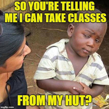 Third World Skeptical Kid Meme | SO YOU'RE TELLING ME I CAN TAKE CLASSES FROM MY HUT? | image tagged in memes,third world skeptical kid | made w/ Imgflip meme maker