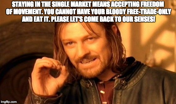 One Does Not Simply Meme | STAYING IN THE SINGLE MARKET MEANS ACCEPTING FREEDOM OF MOVEMENT. YOU CANNOT HAVE YOUR BLOODY FREE-TRADE-ONLY AND EAT IT. PLEASE LET'S COME  | image tagged in memes,one does not simply | made w/ Imgflip meme maker