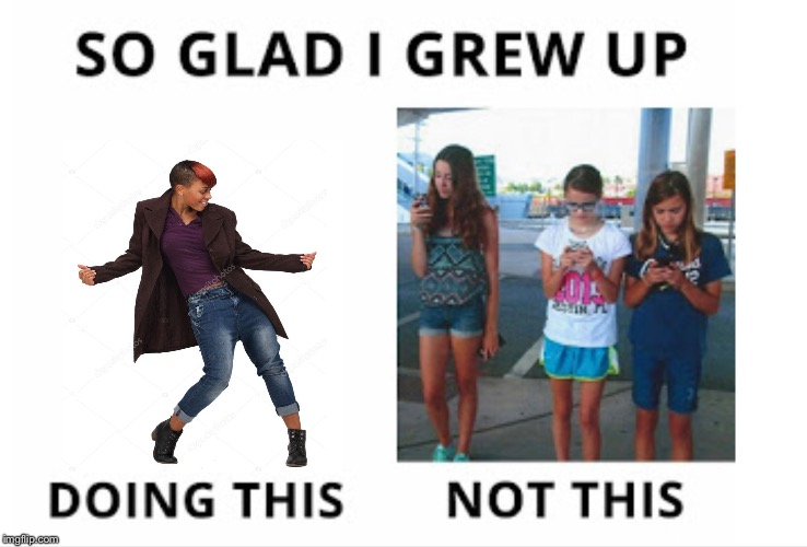 Glad I grew up dancing not texting  | image tagged in just dance | made w/ Imgflip meme maker
