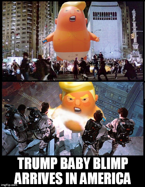 TRUMP BABY BLIMP ARRIVES IN AMERICA | image tagged in trump baby blimp,baby trump,trump baby,ghostbusters,america,new york | made w/ Imgflip meme maker