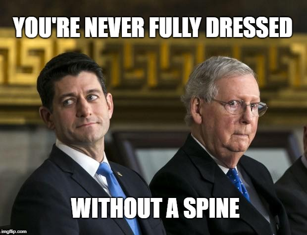 YOU'RE NEVER FULLY DRESSED WITHOUT A SPINE | image tagged in congress trump spine | made w/ Imgflip meme maker