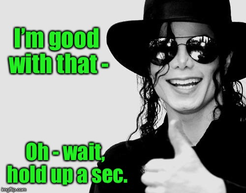 Michael Jackson - Okay Yes Sign | I'm good with that - Oh - wait, hold up a sec. | image tagged in michael jackson - okay yes sign | made w/ Imgflip meme maker