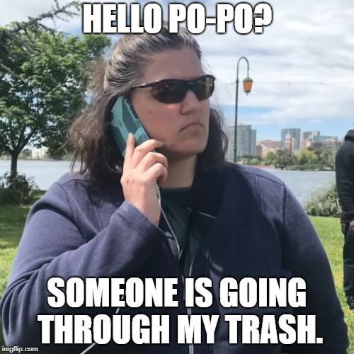 HELLO PO-PO? SOMEONE IS GOING THROUGH MY TRASH. | image tagged in white woman calling cops | made w/ Imgflip meme maker