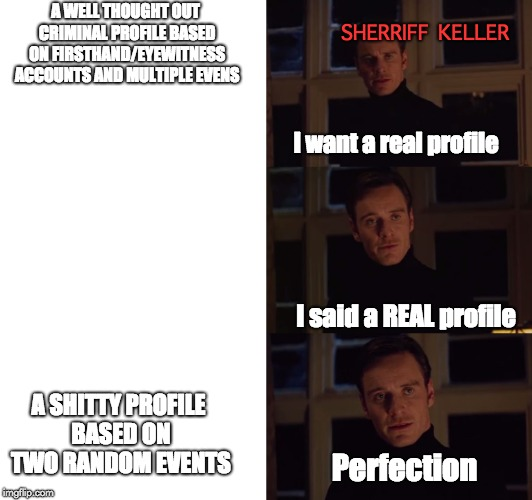 perfection | A WELL THOUGHT OUT CRIMINAL PROFILE BASED ON FIRSTHAND/EYEWITNESS ACCOUNTS AND MULTIPLE EVENS A SHITTY PROFILE BASED ON TWO RANDOM EVENTS I  | image tagged in perfection | made w/ Imgflip meme maker