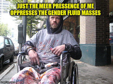 White Male Privilege | JUST THE MEER PRESSENCE OF ME OPPRESSES THE GENDER FLUID MASSES | image tagged in white male privilege | made w/ Imgflip meme maker