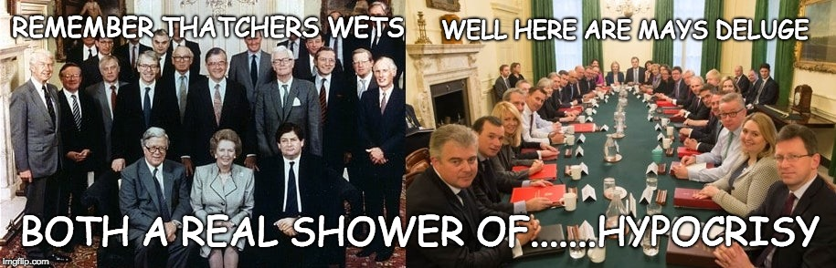 A Real Shower of Shit | REMEMBER THATCHERS WETS WELL HERE ARE MAYS DELUGE BOTH A REAL SHOWER OF.......HYPOCRISY | image tagged in shit,thatcher,theresa may,wets,conservative hypocrisy | made w/ Imgflip meme maker